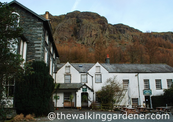 The Old Dungeon Ghyll with Hikers Bar, right. Feb 2012